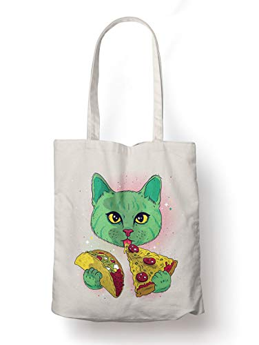 BLAK TEE Green Space Cat Eating Taco and Pizza Organic Cotton Reusable Shopping Bag Natural