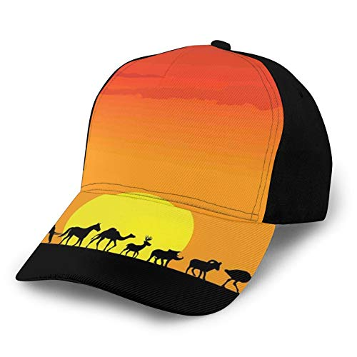Printed Baseball Cap,Diverse Animals Community Walking In Line Silhouette Idyllic Sunset Hot Climate,Hat for Men Women Teens