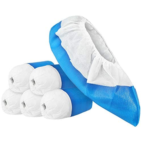 com-four® 50x Copriscarpe Riutilizzabili Premium - Calzari in Plastica con Suola Antiscivolo - Scarpa Extra Resistente e Impermeabile, Taglia Unica