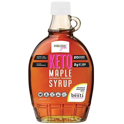 Wholesome Yum Keto Maple Syrup - Sugar Free Pancake Syrup With Monk Fruit & Allulose (12 fl oz) - Naturally Sweetened & Flavored, Non GMO, Low Carb, Gluten-Free, Vegan