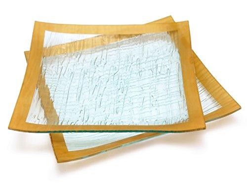 GAC Set of 2 Elegant Tempered Glass Dinner Plates Square Glass Plate 10 Inch, Break and Chip Resistant – Oven/Microwave Safe – Dishwasher Safe – Decorative Gold Border (Gold 10