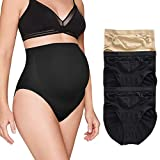 BRABIC Women's Seamless Maternity Panties High Waisted Pregnancy Underwear Belly Support Briefs Over Bump 3 Pack (2Black+1Beige, X-Large)