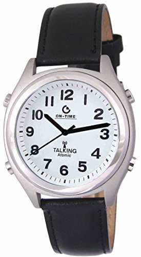 Men's Atomic Talking Watch - White Face with Black Numbers
