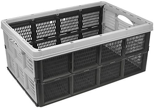 com-four® Caja Plegable de 32 litros - Caja de Transporte con Asas - Caja de almacenaje Robusta - Cesta de la Compra Plegable (50.5x33x22cm - 01 Pieza - Gris Claro)