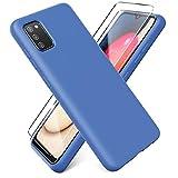 Ikziwreo - Funda Compatible con Samsung Galaxy A02s + Protectores de Pantalla Templados [2 Paquetes], Carcasa de Silicona Líquida Gel Ultra Suave Funda con tapete de Microfibra Anti-Rasguño - Azul