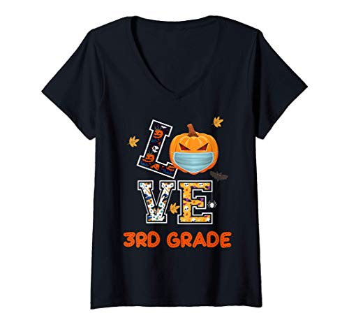 Womens Love 3rd Grade Teachers Halloween 2020 - Funny Pumpkin Gift V-Neck T-Shirt