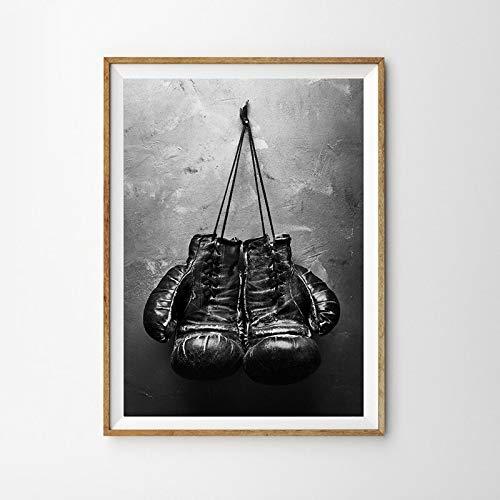 wZUN Guantes de Boxeo Colgantes de Estilo nórdico, Carteles e Impresiones de Lienzo en Blanco y Negro para decoración de Sala de Estar, Pintura de Pared 60x80 Sin Marco