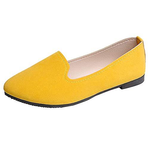 Damen Mokassins Flache Loafer Bequeme Ballerinas Einfarbig Damenschuhe Frauen Elegante Slipper Schöner Schuh Slip-Ons Celucke (Gelb, 40 EU)