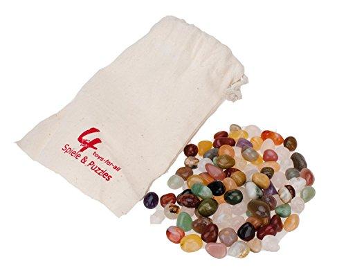 GICO Echte Edelsteine Spielsteine - 90 Stück für Hus, Kalaha und Steinchenspiel im Baumwollbeutel zur Aufbewahrung