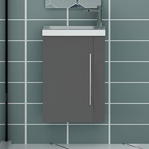 Acezanble Badezimmer Badmöbel 45 cm Waschtisch mit Unterschrank Gäste WC Anthrazit