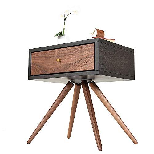 Jcnfa-bijzettafel met USB-interface nachtkastje, multifunctioneel massief houten meubilair, ontwerpen eindtafel, ladenachtkastje, donkergrijs + walnoot kleur
