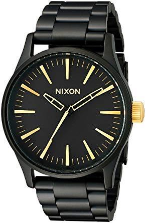 Nixon Nixon Sentry SS - Reloj para hombre de acero inoxidable negro con manecillas doradas A356-1041