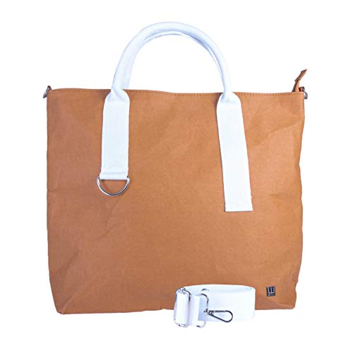 WOLA Damen Shopper Handtasche Papier 41x33cm ORIGAMI vegan weiß