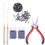 Creamily Hair Extensions Tools Kit for Fusion Micro Beads 1000 PCS Micro Silicone Rings(Light Brown2) + Pliers + Pulling Hook for Professional Hair Extensions Tools