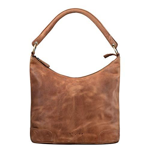 STILORD 'Tessa' Handtasche Damen Leder Groß Shopper Ledertasche Hobo Tasche Elegante Vintage Schultertasche Tote Bag aus Echtem Leder, Farbe:taranto - braun