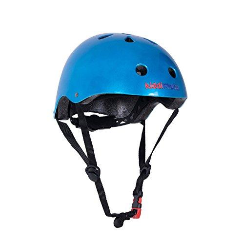 KIDDIMOTO Casco Bicicleta Completamente Ajustabl - Bici Casco para Infantil y Niños para Patinete, Ciclismo, Scooter, Bicicleta de Equilibrio y Monopatin - Azúl Metálico - M (53-58cm)
