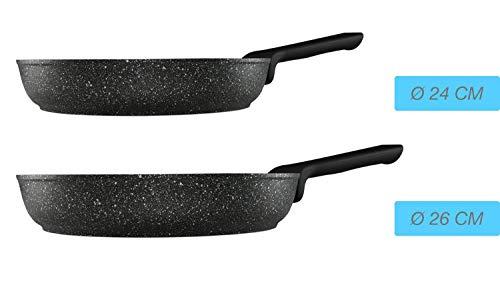 Duygu 2er Pan Set Koekenpan Granit-Pfanne 24 cm 26 cm Zwart Inductie Geschikt