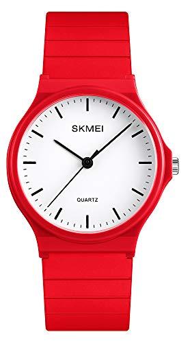 Reloj analógico de diseño simple con correa de resina para hombres y mujeres estudiantes relojes