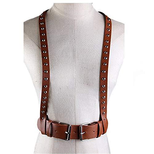 Las mujeres con tiras de arnés Unisex de cuero de imitación punk ajustable Cuerpo pecho del arnés de la correa de la cintura Fancy hebilla de cinturón con los trajes de los montantes de metal decoraci