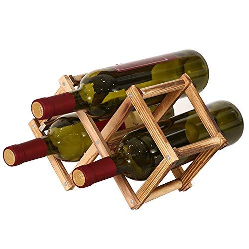 Soporte para Botellero de Madera Plegable, Organizador de Almacenamiento de Vino, Almacenamiento de Botelleros para Exhibición de Vinos, Barra de Bar, Cerveza, Cocina Casera (3 Botellas)