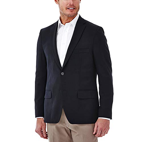 Haggar Men's Travel Stretch Slim Fit 2-Button Side Vent Solid Blazer, Midnight, 36 Regular