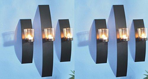 Benelando® Wandkerzenhalter mit Glaseinsatz im 6er Set