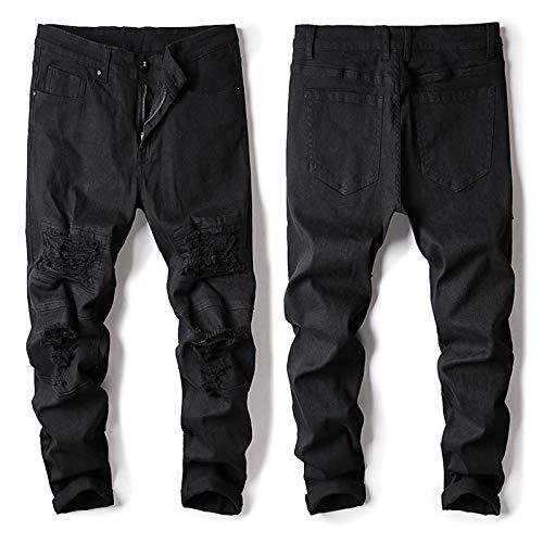 ShSnnwrl Cómodo y Suave Vaqueros para Jeans Pantalones Hole Jeans Men Slim Fit Cargo Pants Free Style Fashion Men Jogger Jeans Ne
