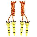 LUOEM 2 Piezas Niños Saltar La Cuerda Saltar La Cuerda Animal de Dibujos Animados Saltar La Cuerda del Ejercicio Madera Deportes Velocidad Saltar La Cuerda (Amarillo)