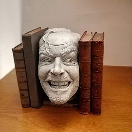 surfsexy Buchstützen, Bücherregal, Skulptur der Shining Buchstütze Library Here?s Johnny Skulptur, Kunstharz, Schreibtisch-Ornament, Buchhalter