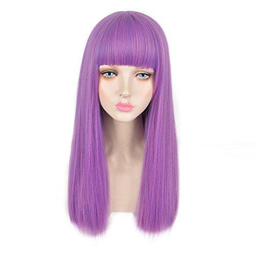 SiYi Kids Child Long Straight Purple Wig with Bangs Anime Cosplay Christmas Costume Wigs