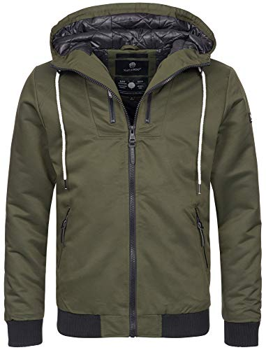 Navahoo Herren Winter Jacke leichte sportliche Jacke robust wasserabweisend Winddicht B623 [B623-Hunter-Grün-Gr.M]