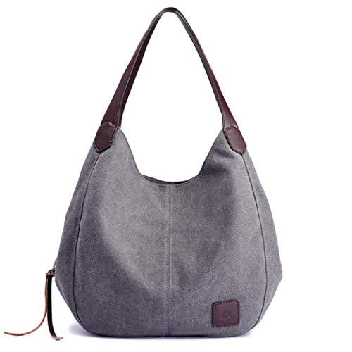 Damen Tasche elegant,2018 Moda Damen Schultertasch Damen Handtasche Hobo Bags Shopper Beuteltaschen Canvas Bags (Grau)