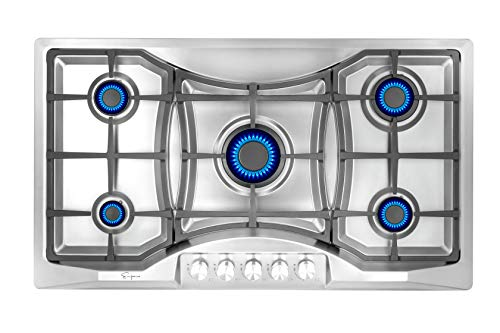 Empava 36 in. Gas Stove Cooktop 5 Italy Sabaf Sealed Burners NG/LPG Convertible in Stainless Steel,...