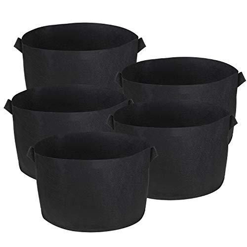 BELLE VOUS Bolsa de Cultivo (Paquete de 5) - 114 litros / 30 galones Maceta de Cultivo - Transpirables Macetas de Geotextil para Orgánico de Vegetales, Flores y Plantas - Geotextil Cultivo