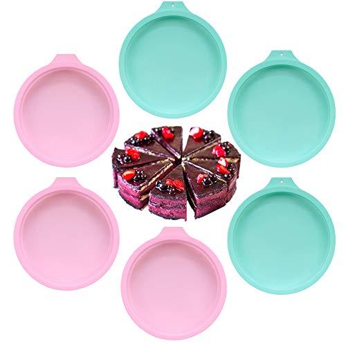  PUDSIRN 6 moldes de silicona para tartas, moldes redondos de silicona para repostería, 6 pulgadas, 8 pulgadas, molde para repostería para fiestas de cumpleaños, bodas y aniversarios