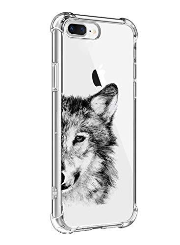 Funda Compatible para iPhone 7 Plus,iPhone 8 Plus Ultra Delgada Ligera Transparente Silicona TPU Gel Suave Carcasa Elegante Patrón Lindo Bumper Anti-Rasguño Protector Caso Case (Cabeza de lobo)