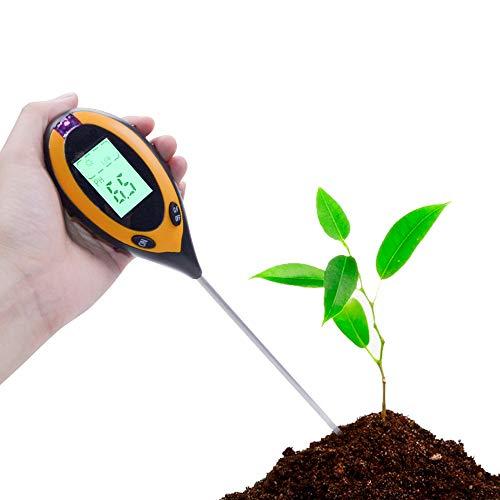 Chilymes 4 in 1 Tester digitale per pH del suolo, livello di pH di temperatura, luce solare intensità, strumento di indagine per giardino, fattoria, prato per uso interno ed esterno
