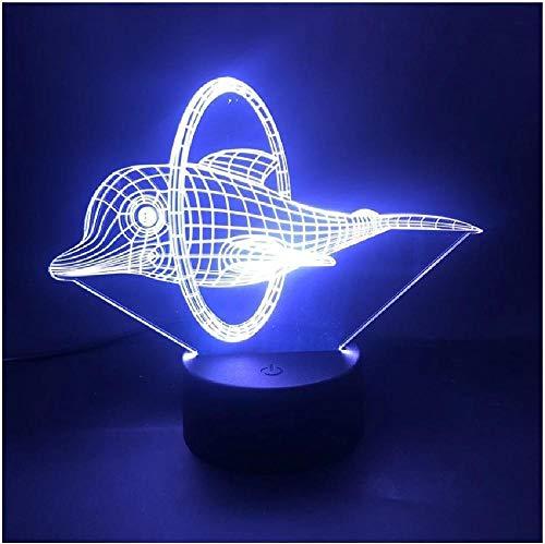 Lámpara 3D Delfines gordos animales Taladro en el anillo La atmósfera de la base del reloj despertador Lindo 7 colores con lámpara de luz nocturna Led USB remota