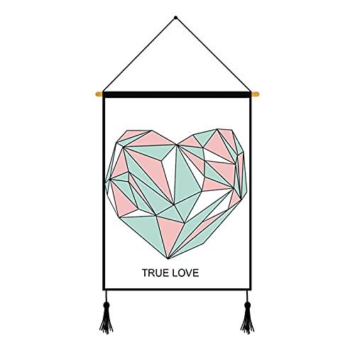 CACAIMAO Pintura De Pared De Línea Rosa, Pintura Colgante De Patrón De Triángulo Geométrico, Pintura De Decoración De Pared De Dormitorio De Sala De Estar 1 Uds
