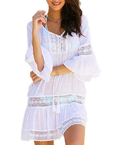 AiJump Damen Spitzen Tunika Strand Bikini Cover Ups Badeanzug Kleidung