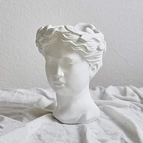 Rishx Accueil Jardin Planteur Creative Portrait Rétro tête Gypse Ciment Vase Ornement de Pot de Fleur Déesse Statue Décoration Grecque (Color : A)