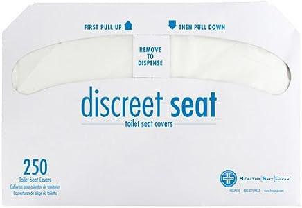Discreto Seat DS-1000 fundas para asiento de inodoro de medio pliegue, color blanco (4 unidades de 250)