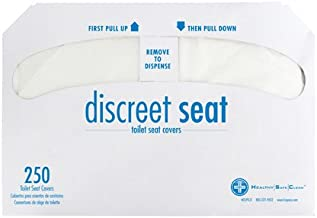 Discreet Seat DS-1000 Half-Fold Toilet Seat Covers, White (4 Pack of 250)
