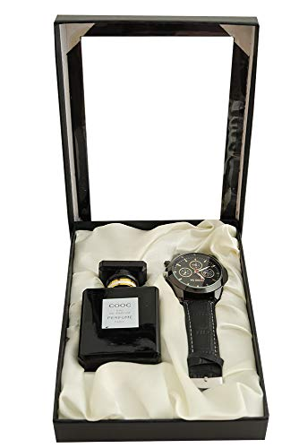 Aica Gift Set for Men - Combo Pack of Analogue Round Dial Watch and Perfume (Black)