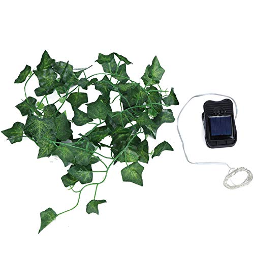 zhuolong Artificial Green Leaf Vine Copper Wire Light 2M 20LED Chip Solar String Light for Home Wedding