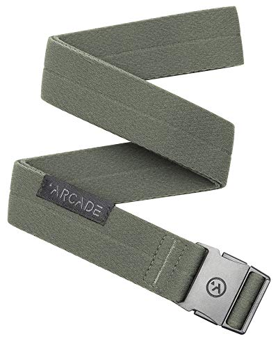 Arcade The Original Slim Unisex Adventure Belt, Narrow Width Elastic Stretch Webbing, Micro Adjust Buckle, Ranger Ivy Green
