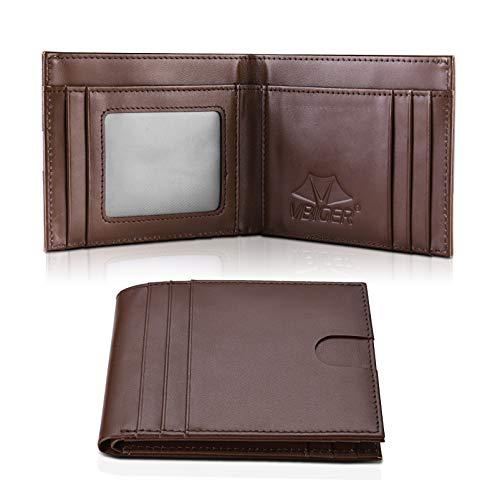 VBIGER Portafoglio Uomo Pelle RFID Blocking Wallet con Tasca Portamonete &10 Slots per Schede & Custodia per Carte Indipendente (Marrone)