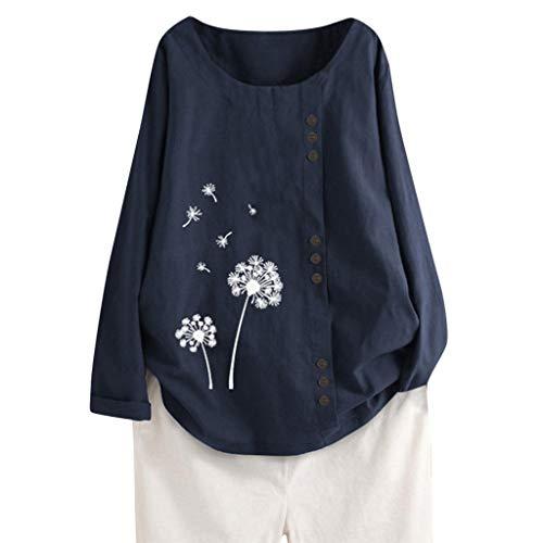 Tuniken Leinen Mädchen Top Mode Blusen Tunika Shirt Sonne und Mond Grafik Drucken T-Shirt damenblusen Langarm elegant Leinen T Shirt Marine #52 XL