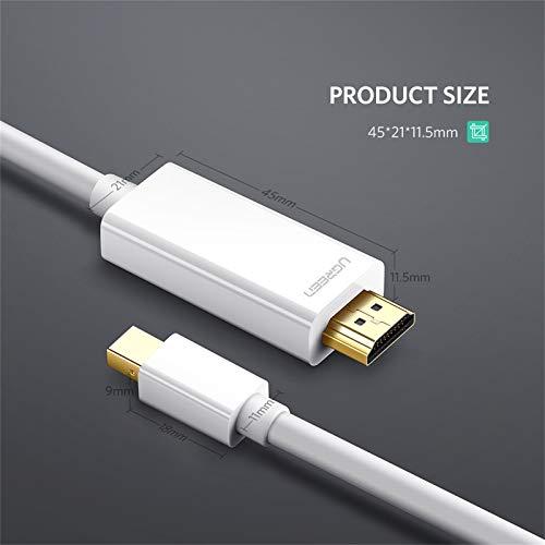 UGREEN Mini Displayport auf Hdmi Video Adapter Kabel Thunderbolt 1080P für PC und MAC, MacBook Pro, MacBook Air Ultrabook oder Pc Tablet Weiß 3m