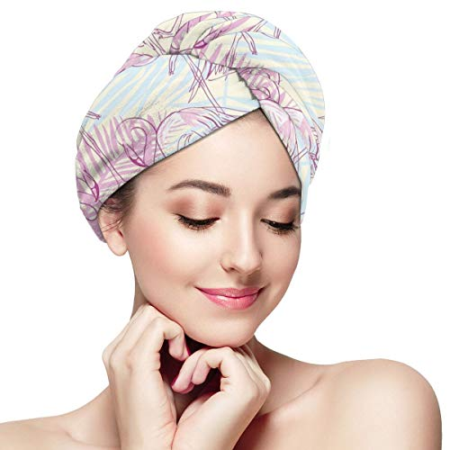 Bettiboy Flamingo Trees Couples Love Microfiber Hair Towel Wrap for Women Super Absorbent Quick Dry Hair Turban for Drying Curly Spa Towel 11¡± X 28¡±